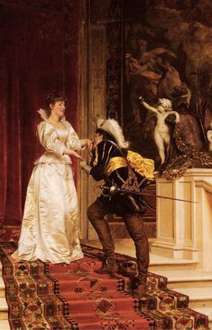 Frédéric Soulacroix (French 1858–1933) [Realism] The Cavalier's Kiss.