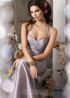 Unique A-line Halter Floor-length Silk Like Satin Colored Bridesmaid Dresses