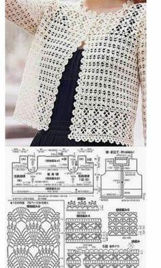Летние кофточки крючком: 18 схем моделей ~ Свое рукоделие Crochet Bolero Pattern, Crochet Jacket, Crochet Blouse, Crochet Patterns, Crochet Tutorials, Crochet Shawl, Pull Crochet, Mode Crochet, Black Crochet Dress