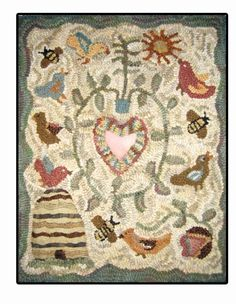 ≗ Feathered Nest of Hope ≗ bird feather & nest art jewelry & decor - primitive style birds & bees hooked rug