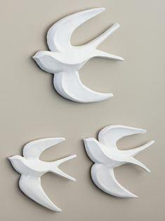 Flocking Birds Wall Art - Set of 3 - EziBuy Austra Clay Birds, Ceramic Birds, Ceramic Animals, Ceramic Clay, Ceramic Pottery, Clay Wall Art, Bird Wall Art, Wall Art Sets, Clay Art