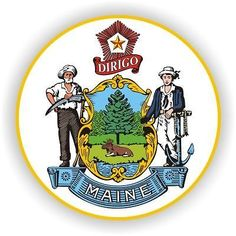 The official state seal of Maine was adopted in farmer symbolizes pride in Maine's agricultural roots; sailor represents Maine's strong ties to the sea. U.s. States, United States, State Mottos, How To Plan, Pine Tree, Seals, Homestead, Social Services, Human Services