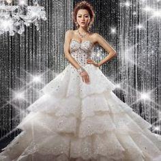$111.97 Delicate Sweetheart Neck Rhinestone Embellished Lace Up Wedding Dress For Bride