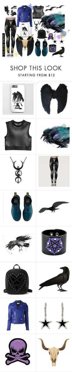 """""Raven"" the taxidermist's Daughter"" by moosedisco ❤ liked on Polyvore featuring Dr. Martens, ibride, Yves Saint Laurent, Jennifer Meyer Jewelry, Logophile and WALL"