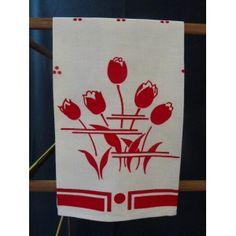 1940's Red Tulip Kitchen Towel