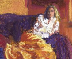 Woman in Gold a figurative art impressionist by TracyHainesFineArt