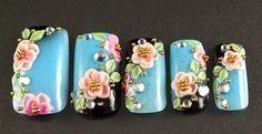 turquoise & black kimono with flowers