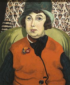 Cedric Morris (England 1889-1982), Portrait of Frances Hodgkins, o/c, 1928. Morris met the artist Frances Hodgkins (NZ 1869–1947) in 1917, becoming life-long friends. This portrait dates from when Hodgkins was living in Bloomsbury, London, near Morris's home.  Morris did not seek to flatter his friend, who was twenty years his senior. Here Hodgkins is depicted with a double chin, her dyed hair contrasting strongly with her aged complexion. Collection Auckland Art Gallery Toi o Tāmaki.