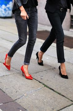 Jeans and red pumps