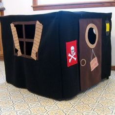 personalized card table play house!! I like the idea of being able to fold it all up and put it away!