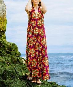 Another great find on #zulily! Burgundy & Orange Geometric Racerback Maxi Dress #zulilyfinds