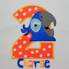 Rio Birthday T-shirt or onesie/ Blu Birthday T-shirt or onesie/ Rio, blu Parrot Birthday T-shirt or onesie! by Presleeschicboutique on Etsy