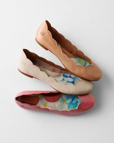 By Børn for Garnet Hill. These essential flats combine serious comfort with ethereal aesthetics, in refreshingly muted colors with all-around scalloped trim. Crafted of Italian leather, featuring Børn's signature hand-sewn construction, soft arch support, and leather-lined footbed for all-day comfort.