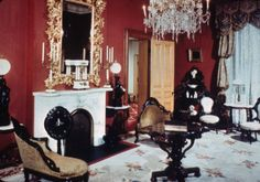 @gwendolen Raley - notice the upholstery. 1204 N. Park Ave., Morris-Butler House [interior], n.d. :: Indianapolis Historic Preservation Commission Image Collection
