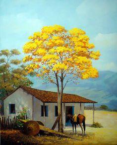 Resultado de imagen para pintura em tela a oleo Pictures To Paint, Nature Pictures, Art Pictures, Photos, Watercolor Landscape Paintings, Landscape Drawings, Art Drawings, Arte Country, Fine Art
