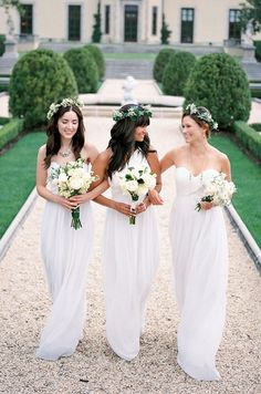 Ethereal white Bridesmaid's dresses | by Donna Morgan, Spring 2014 #wedding #fashion