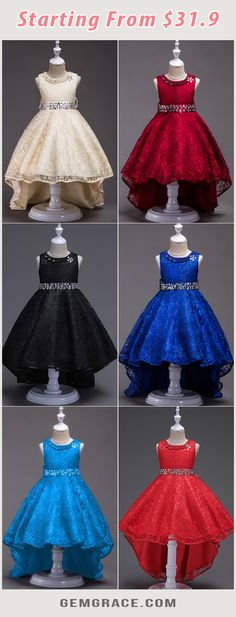 Shop High Low Black Lace Flower Girl Dress With Beading Neck Waist online. Kids Flower Girl Dresses, African Dresses For Kids, Flower Girl Tutu, Lace Flower Girls, Lace Flowers, Girls Dresses Online, Dresses To Wear To A Wedding, Kids Outfits Girls, Costumes For Women
