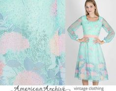 DESCRIPTION  Vintage 1970s sheer floral chiffon boho wedding cocktail party dress. Tailored bodice with gathered neckline and sheer puff sleeves.
