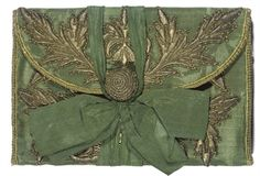 A gilt-embroidered letter case, century, Continental. Vintage Purses, Vintage Bags, Letter Case, 18th Century Fashion, 17th Century, Art Nouveau, Art Deco, Green Silk, Renaissance Fashion