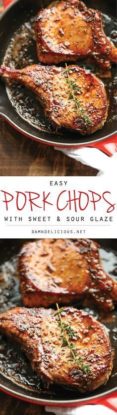 dp - good - very - Easy Pork Chops with Sweet and Sour Glaze - The easiest, no-fuss, most amazing pork chops ever, made in 20 min from start to finish.