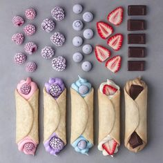 Shared by WindRose. Find images and videos about food on We Heart It - the app to get lost in what you love. Fun Desserts, Delicious Desserts, Yummy Food, Kreative Desserts, Cute Baking, Kawaii Dessert, Rainbow Food, Food Wallpaper, Aesthetic Food