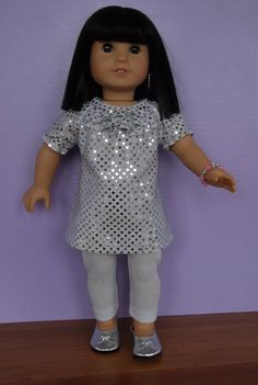 American Girl 18 inch Doll Clothing Silver by TwirlyGirlDollDesign, $49.99  DRESS  .....silver confetti dot fabric  .....3 neckline ruffles  .....elastic gathered short sleeves  .....opens all the way down the back for ease of dressing & closes with Velcro