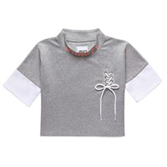 Grey crop top with lace bow Tee T Shirt, Crop Tee, Streetwear, Lace Bows, Sweatshirts, Grey, Sweaters, Shopping, Clothes