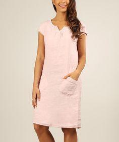 64654048ff6 Gala Pink Lace Linen Cap-Sleeve Dress