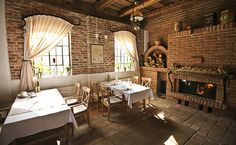 vintage restaurant, vintage interior, bricks wall