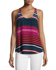 JOIE Drew C Striped Silk Tank Top, Blue/Red/Pink. #joie #cloth #