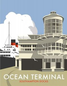 This vintage style travel / railway poster has been designed by Portsmouth based artist Dave Thompson and depicts Ocean Terminal in Southampton, Hampshire Dimensions: 11 inches x 14 inches