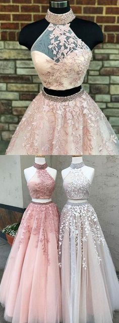 unique two piece pink long prom dresses, chic halter backless party dresses, modest 2 piece tulle formal dresses with appliques beading