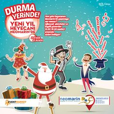 Yeni yılın heyecanını Neomarin'de yaşamaya var mısınız?  Eğlenceli aktiviteler ve keyifli gösteriler 15:00 - 19 saatleri arasında sizleri bekliyor!