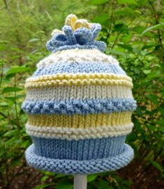 Hand Knit Baby Boy Hat Blue And Yellow by HollyLaneBabyHats, $32.00