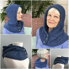 Knitting Pattern, Hat, Pattern, Winter Hat Arctic Chill II Hat and Double Cowl Crochet Hooded Scarf, Crochet Scarves, Knit Crochet, Crochet Hats, Hooded Cowl, Loom Knitting, Free Knitting, Knitting Stitches, Knit In The Round