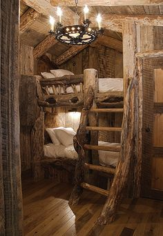 It would be insanely cool to do a small cabin in the backyard with bunks like this for the kids as a clubhouse!  They could have sleepovers with friends and it could include a trundle under the bottom bunk!