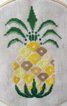 Yellow Pineapple cross stitch pattern instant by Indiepopdesign Cross Stitch Fruit, Cross Stitch Kitchen, Cross Stitch Heart, Modern Cross Stitch, Cross Stitch Flowers, Cross Stitch Designs, Cross Stitch Patterns, Cross Stitching, Cross Stitch Embroidery
