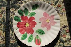 Georgia Bell BLUE RIDGE SOUTHERN POTTERIES Dinner Plate Vintage Red Pink Flowers #BlueRidgeSouthernPotteries