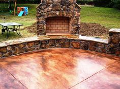 Concrete patio, concrete walk, acid stained concrete, stamped concrete----really want this in my backyard Acid Stained Concrete Patio, Diy Concrete Stain, Stamped Concrete, Concrete Patios, How To Stain Concrete, Concrete Backyard, Concrete Stone, Outside Living, Outdoor Living