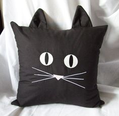 Black Cat Face Pillow Cover Glow In The Dark 16 by MischyfCouture, $30.00