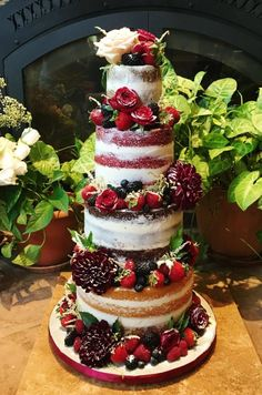Four tiered naked wedding cake with fresh flowers, strawberries, blueberries, ra… – Beautiful Wedding Cake Designs Fruit Wedding Cake, Diy Wedding Cake, Wedding Cakes With Flowers, Beautiful Wedding Cakes, Gorgeous Cakes, Wedding Cake Designs, Pretty Cakes, Amazing Cakes, Rustic Wedding