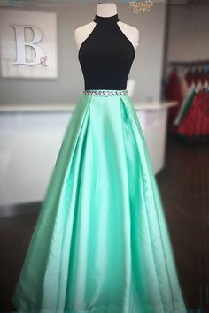 Prom Dress Princess, Elegant High Neck Two Piece Black and Mint Green Long Prom Dress Shop ball gown prom dresses and gowns and become a princess on prom night. prom ball gowns in every size, from juniors to plus size. Pretty Prom Dresses, Elegant Bridesmaid Dresses, Open Back Prom Dresses, Hoco Dresses, Dance Dresses, Ball Dresses, Beautiful Dresses, Ball Gowns, Evening Dresses