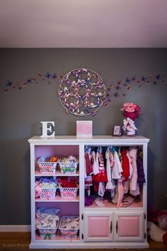 Re-purposed entertainment center for girls nursery. Check the inventory at your local Habitat ReStore for all kinds of UpCycling and RePurposing projects! Refurbished Furniture, Repurposed Furniture, Kids Furniture, Furniture Makeover, Rooms Furniture, Kids Clothes Storage, Dress Up Storage, Girl Nursery, Girls Bedroom