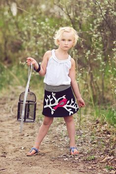 Girl's Organic Bird and Branch Yoga Waist Skirt..  Black with Stripe and Pink Detail Sizes 12/18M through 10. $39.00, via Etsy.
