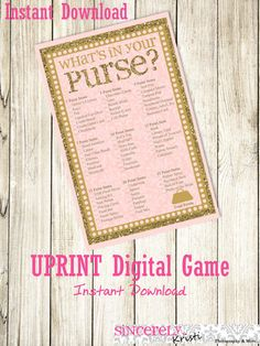 This What is in your purse? game is sold as is (not customizable). This listing is for a high resolution 8.5 x 11in. PDF format that you can