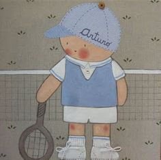 Cuadro infantil personalizado. Tennis Arturo Baby Quilts, Smurfs, Nursery, Embroidery, Stitch, Disney Characters, Children, Boys, Mothers