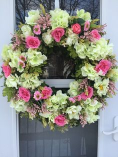 Pink Roses with Green Hydrangea & Peonies Wreath - Wreaths ...