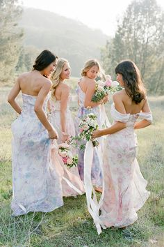 Great for a spring or summer wedding - Couture Bridesmaid Dresses from PPS Couture Mix Match Bridesmaids, Bridesmaid Poses, Couture Bridesmaid Dresses, Wedding Dresses, Wedding Veils, Wedding Hair, Bridal Hair, Wedding Poses, Wedding Attire