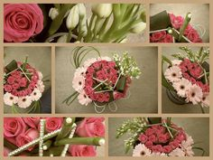 LOVE this low, trendy centerpiece for a pink wedding. pink wedding. gerber daisy. tulips. pink roses.