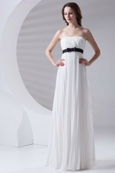 Chiffon Strapless Column Floor Length Sash Prom Dress - WooVow